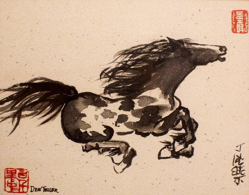 A wild horse is running across the natural flecked paper. The horse is composed of quick dabs of black ink with some detailing. The two red artist's chops, calligraphy and her english signature add to the composition.