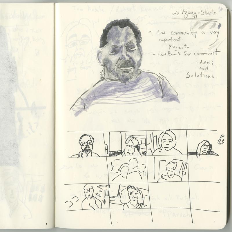 wrote this description, thinking of how I would describe what we see in this drawing to a person who can not see the image but can hear my voice:  This is a scan of two pages from the sketchbook of the artist. When fully open, the size of the two pages is 10 x 15 inches. The paper to the right is the one with the drawing. At the bottom of this page, taking half of the page space horizontally, you see a quick sketch of a 4 X 4 grid of rectangles drawn fast and freely by hand with a thin black marker. Inside eight of these rectangles are quick line drawings of portraits of different people, sketched with the same thin black marker as the grid. The drawings focus on each individual's expression and body language, rather than attempt to achieve a realistic accuracy of their facial features.   In the upper part of the page, slightly to the left and taking about 2/3 of the space, there is another portrait. The drawing is done in pencil and filled in with various shades of gray markers. The person in the portrait has a short beard, short black curly hair, a T-shirt with vertical stripes and one eye is half shut with both eyebrows slightly raised expressing a deep intellectual urgency. Next to this portrait, there are a few words written in pencil (from the top down):   Wolfgang Stark Now community is very important  project New bank for communit ideas and  Solutions