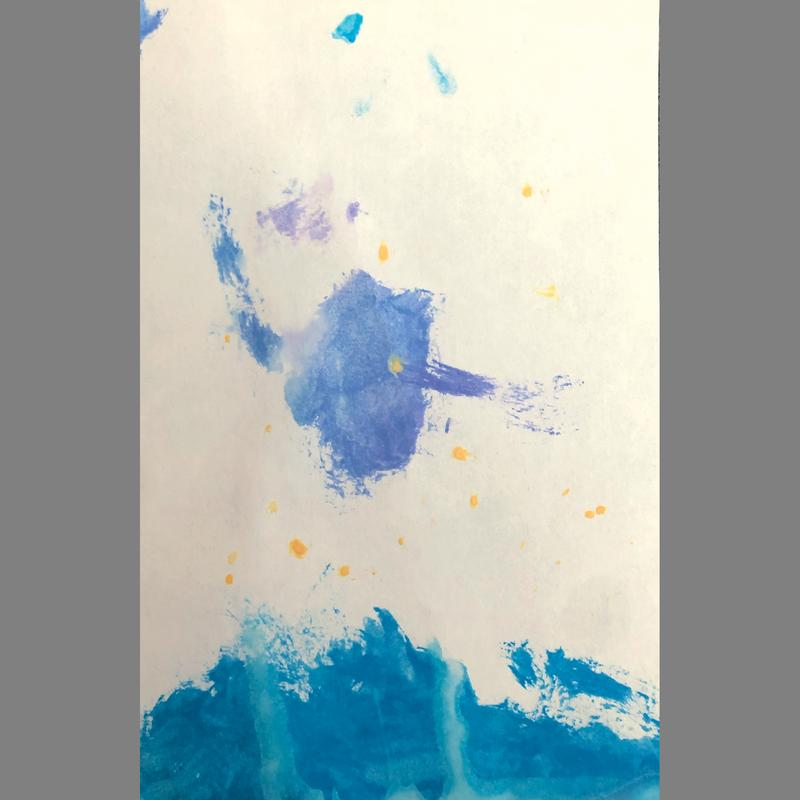 A painting of an abstract blue form in the middle of a white background with several yellow circular dots above a blue wave form at the bottom.