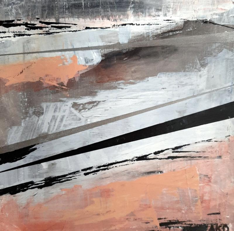Abstracted vision of Grand Marais, Minnesota harbor in mid-January.  Lines and colors (peach, black, white, grey) depict the essence of the icy North Shore.