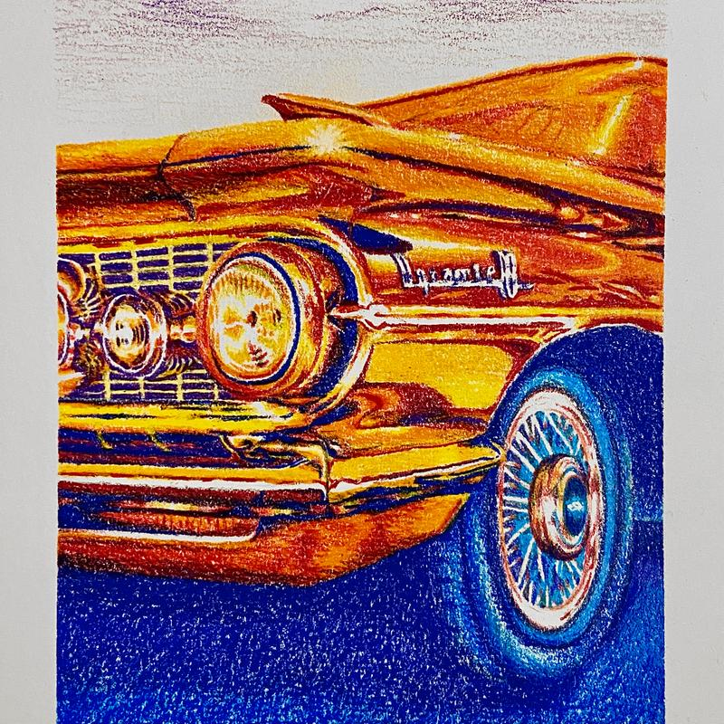 A drawing of the front details of a classic 1950's American car depicted in orange, red, blue, and purple hues.