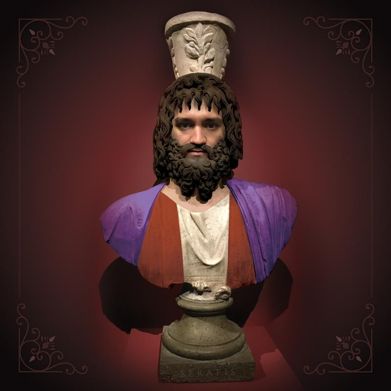 """Tongue-in-cheek reimagining of an ancient sculpture I saw at Mia with my face superimposed as Serapis. The collage is overlaid on the marble sculpture, with a regal purple backdrop, and digital """"paint"""" added over original detail."""