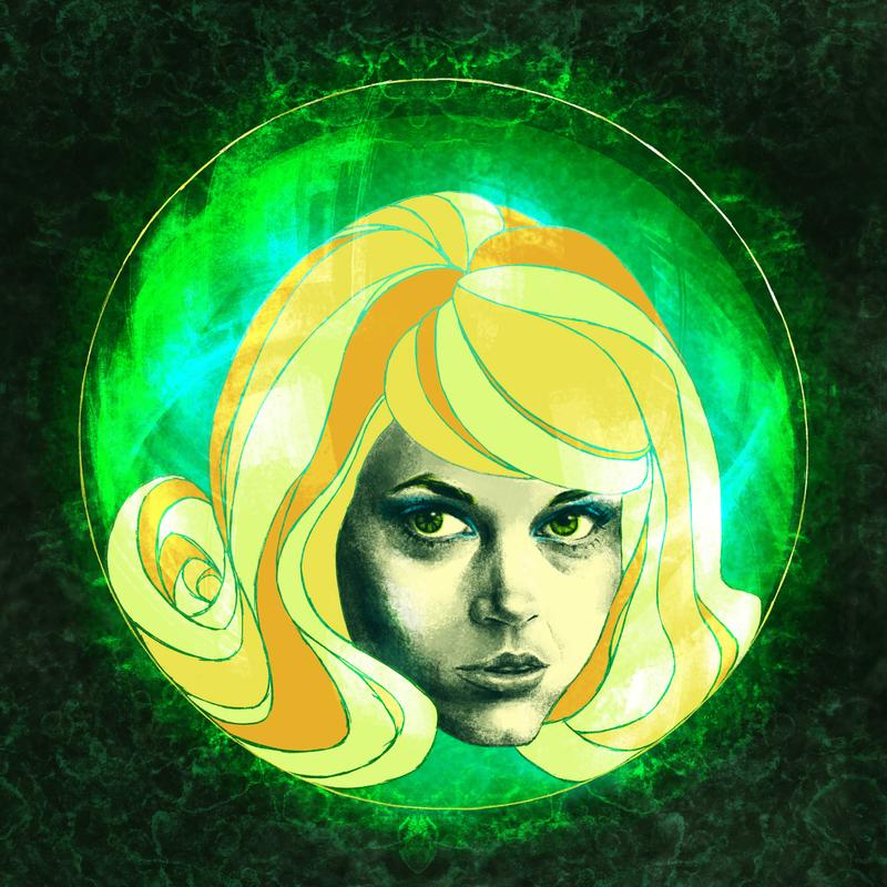 Jane Fonda's face/head with vivid green eyes and bright yellow hair, floating in a bubble that's floating in a bright green space.