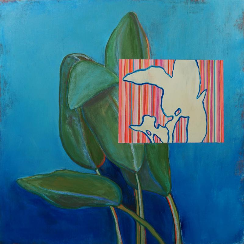 A painting of a sage plant with a vibrant blue background and an overlapping painted square that is striped in various shades of red and shows the outline of the same plant in blue.
