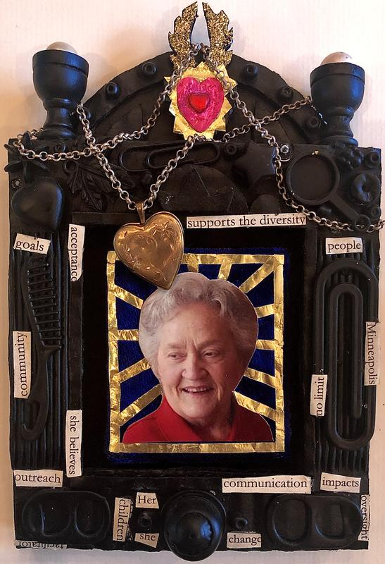 A frame made of cardboard and knick knacks painted black with an icon-like image of my late grandmother in the center mounted on velvet and haloed in gold just below the locket she gave me draped over the shrine's frame.