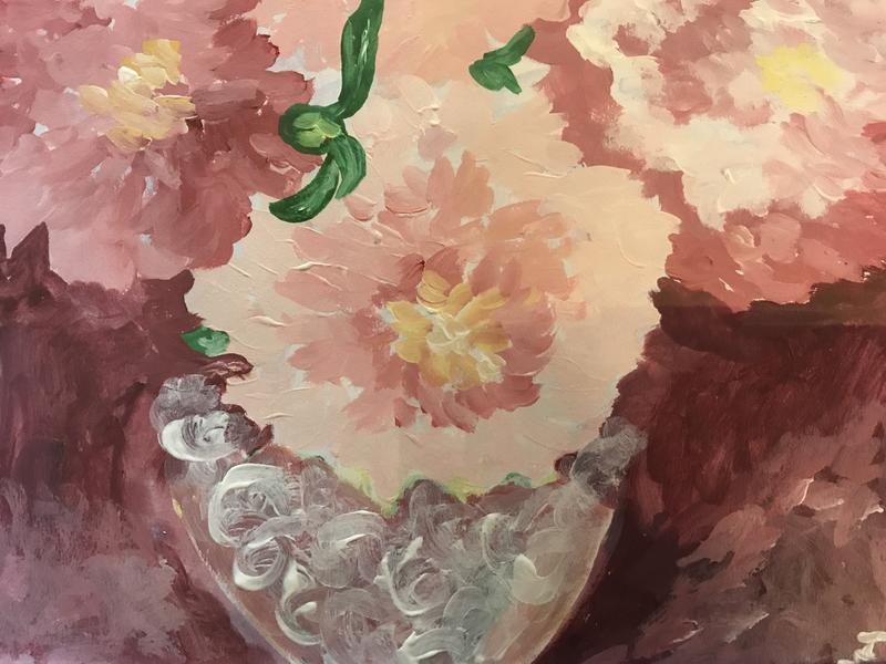 A painting of Peonies in a Vase, shades of pink.