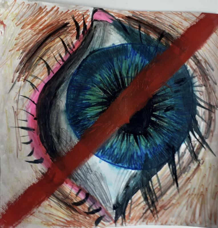 A blue eye crossed out with a red line