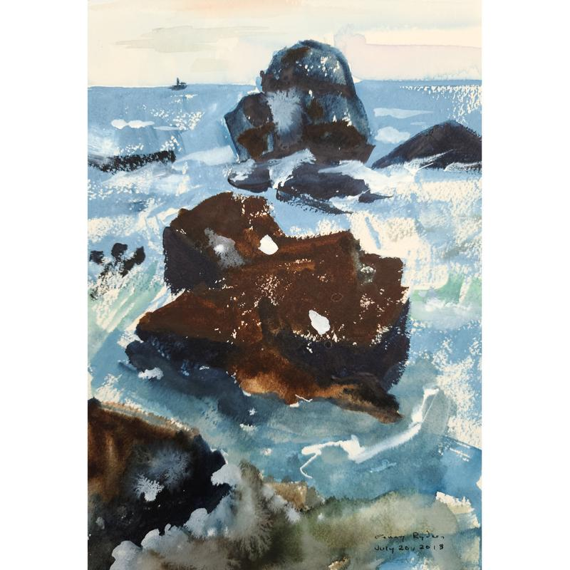 A painting of three large rocks off the shore of Lake Superior. The rocks are the focus of the painting with waves splashing against them. The horizon line is near the top of the painting with a clear sky and boat off the in the distance. The water is a mix of light blue with white streaks to show the waves. The two rocks in the front and center are brown and the third rock farthest out is black and dark blue with the light creating shadows on different edges of the rocks.
