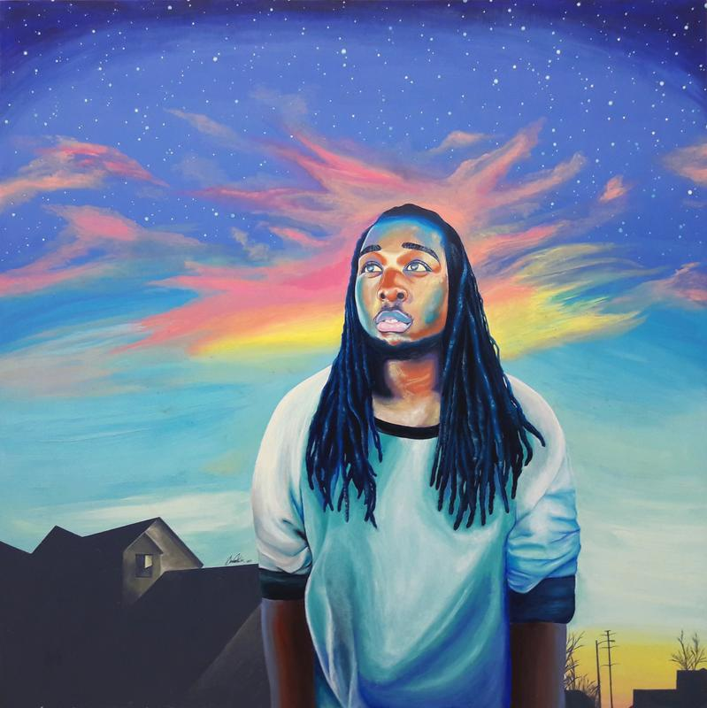 A painting of a Black male figure standing outside. He is front and center but slightly shifted towards the right of the piece. He is facing the viewer with his hands by his side. He has long flowy locs. He is looking towards the sky lost in thought. Behind him is a small peek into his neighborhood which can be seen towards the bottom of the painting. Towards the top shows the sky filled with stars and vibrant colorful clouds.