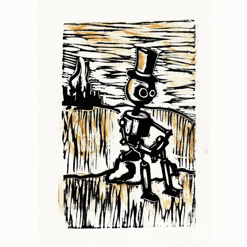 A robot with a top hat sitting on a rock. Black and gold.