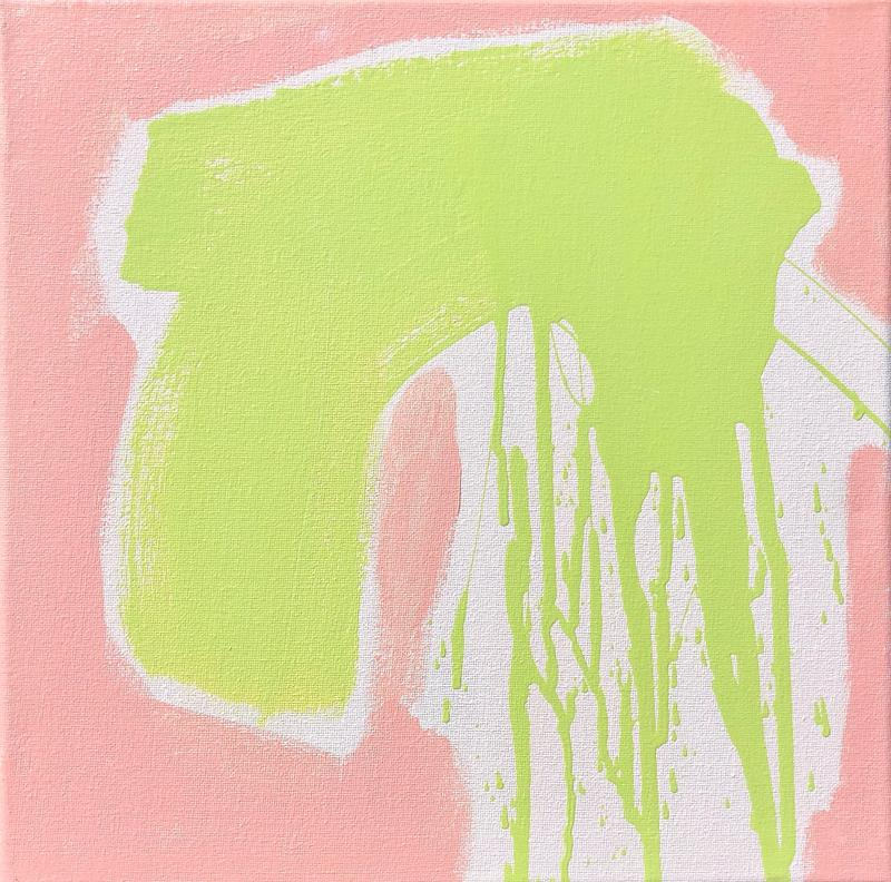Abstract brush strokes of chartreuse green and light pink on white canvas.