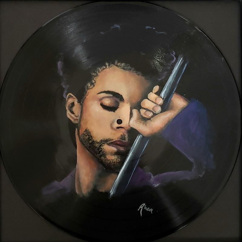 Portrait of Prince painted on a record