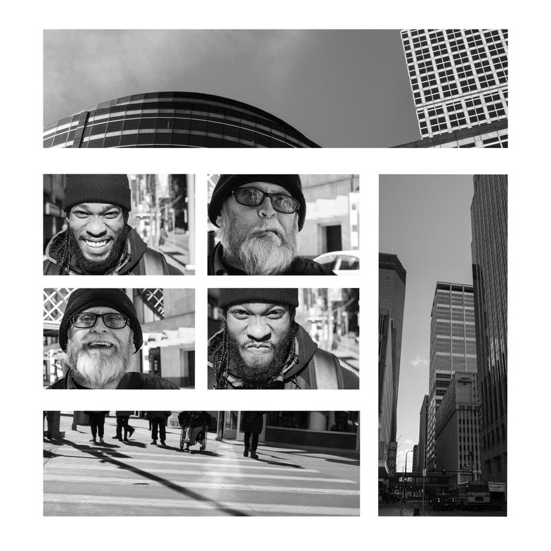 A collage of photographs taken in downtown Minneapolis. Pictures of the architecture border portraits of strangers on the street.