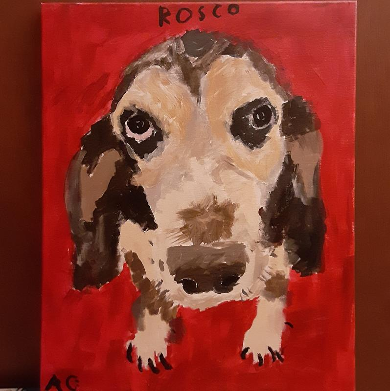 A painting of a dog sitting