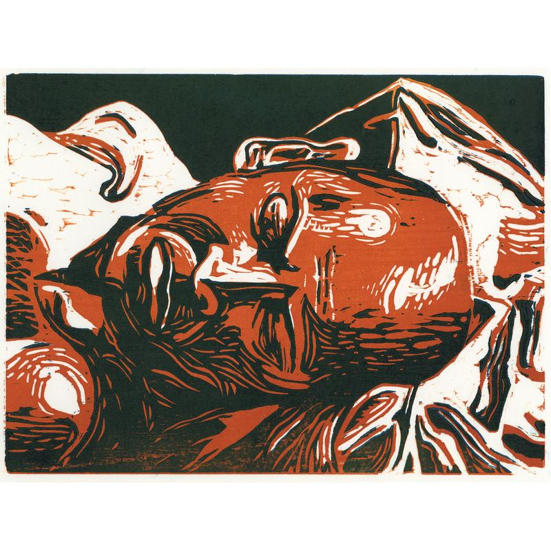 A woodcut portrait of a male figure at rest. His head takes up most of the frame, his brows are furrowed.