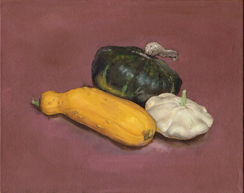 A landscape-oriented painting with a somewhat light reddish-purple background. Occupying the space are three types of squash arranged into a composition. In the front is a bright yellow squash, and to its right and slightly behind is a white patty-pan squash. Both of these were grown at home by my mom. And in the back peeking over the two is a dark green buttercup squash from a farmers' market.
