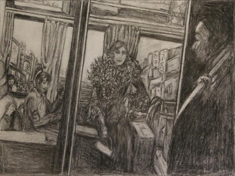 Two women in a train car with suitcases.  One woman has a feathered boa and pearls. A man is watching them from the shadows.
