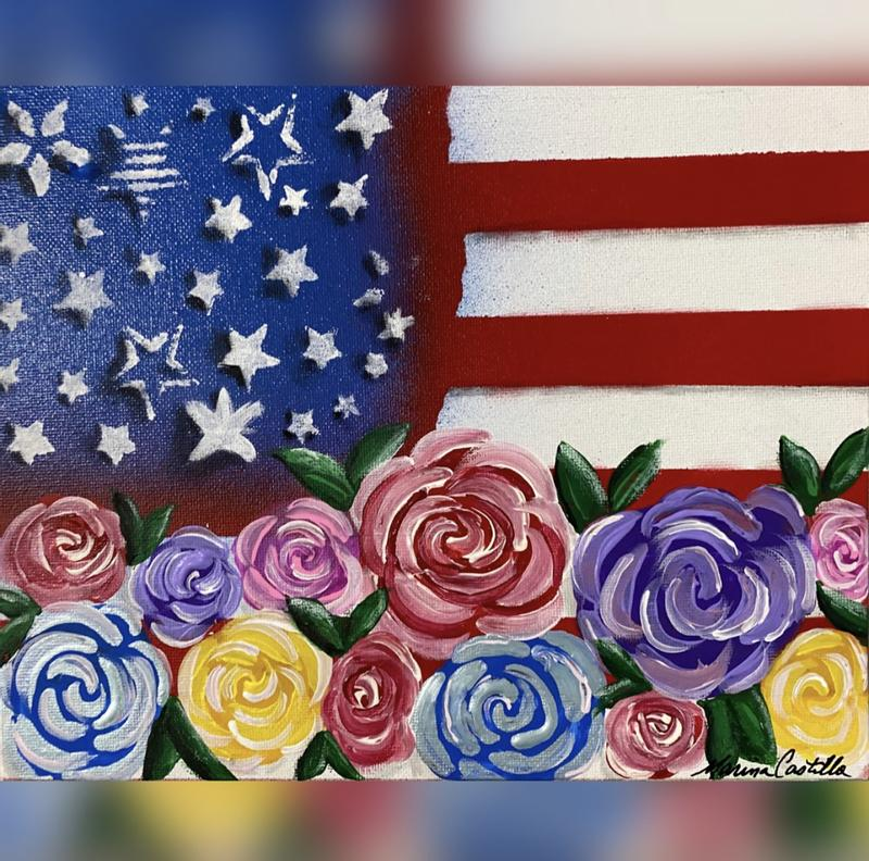 American Flag painted on an 8x10 canvas with colorful roses at the bottom of the flag in many colors signifying people of many ethnicities.  The stars and many shapes, sizes, and style as are humans.  there are red and white stripes above the roses and to the right of the stars.