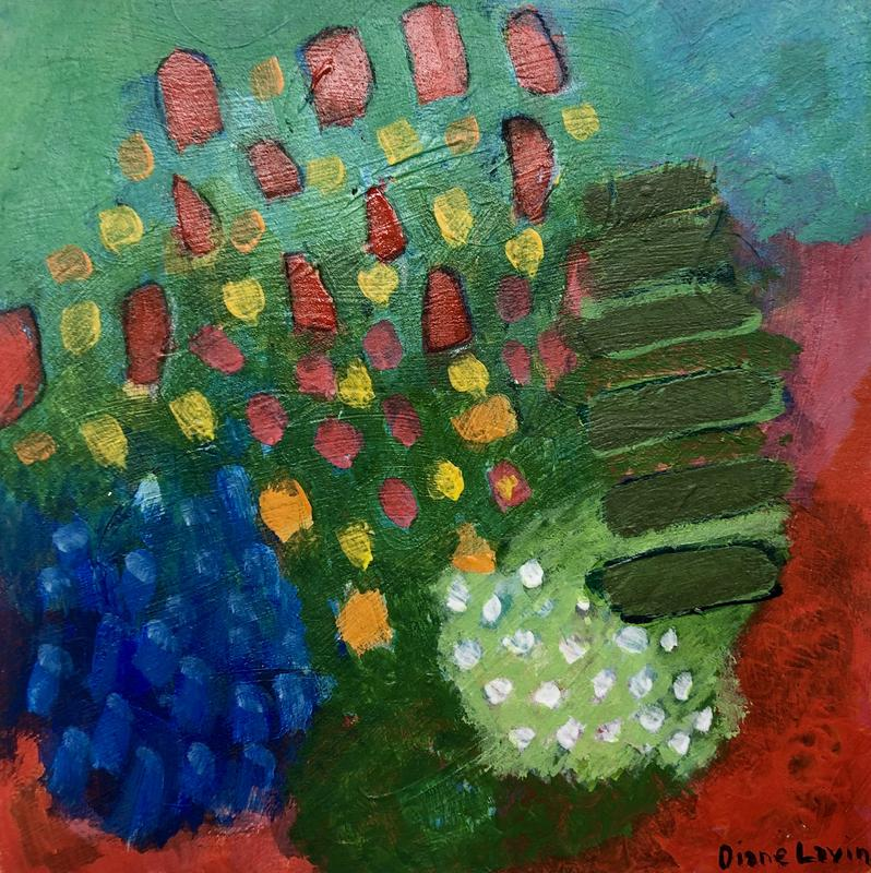 An abstract approach to a colorful garden along a walking path on a sunny day.