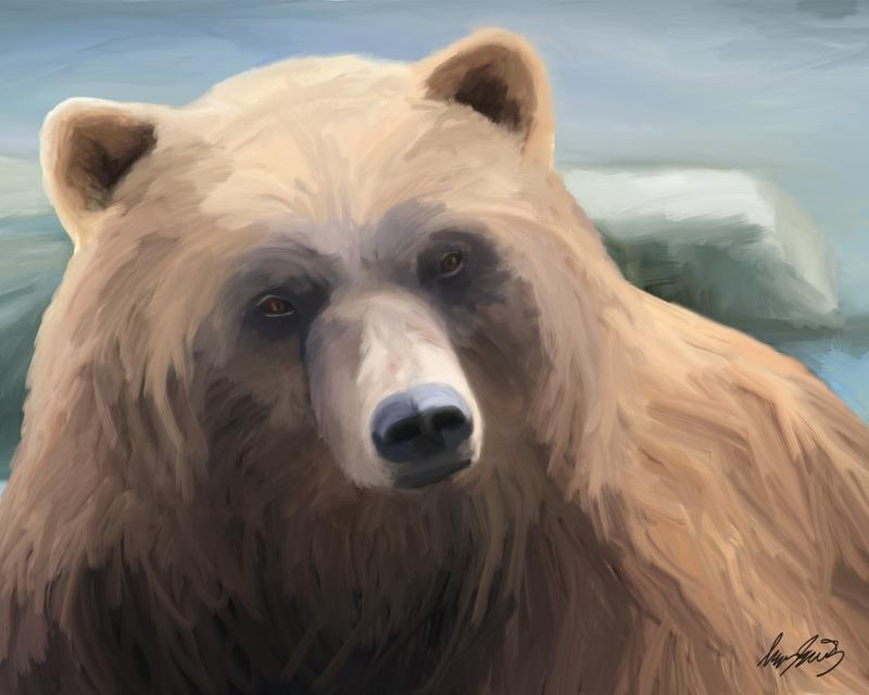 Portrait of Brown Bear staring straight ahead. Blue background.