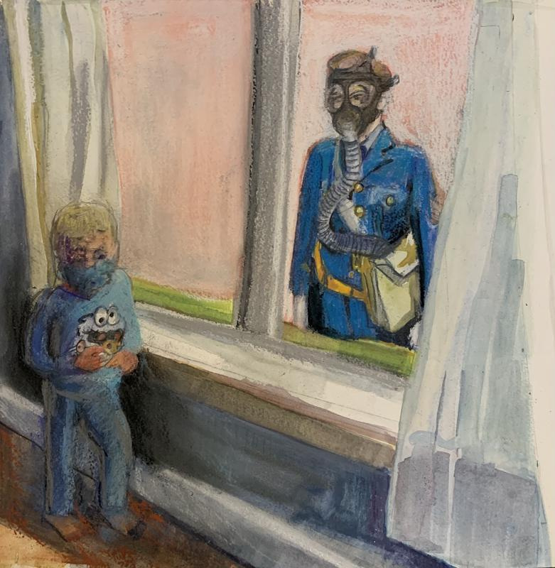 Pastel and Watercolor Sketch of a Small Child Wearing Cookie Monster  Pajamas Standing At A Window With An Image of a British Soldier in a Gas Mask Outside.
