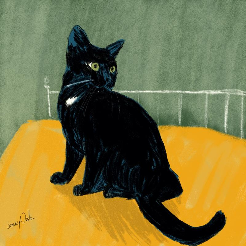 digital painting of a black cat on a bed with a yellow bedspread and green walls